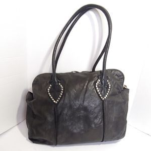 Lucky Brand black Italian leather studded handbag